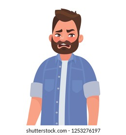Ew. It's so gross. Man shows an emotion of disgust. The concept of something detestable. Vector illustration in cartoon style