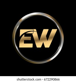 EW initial letter logo inside circle shape, EW inside o rounded lowercase logo gold silver