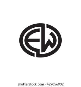 EW initial letters looping linked ellipse monogram logo