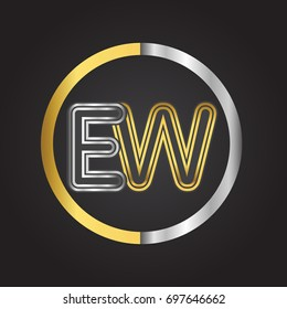 EW Letter logo in a circle. gold and silver colored. Vector design template elements for your business or company identity.