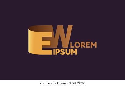 EW letters logo, E and W letters logo alphabet design.
