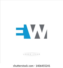 EW Logo Letter with Modern Negative space - Blue and Grey Color EPS 10