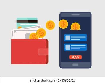 E-Wallet, Digital currency concept. Top up, forward facing  mobile smartphone. Flat design style illustration.