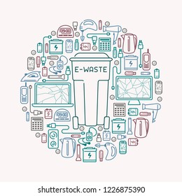 E-waste card with old appliances and dumpster. E-waste icons set. Line style vector illustration