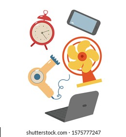 E-waste isolated on white background, alarm clock, computer, broken phone, broken hair dryer, fan. Recycling garbage, waste sorting. Modern flat vector illustration.