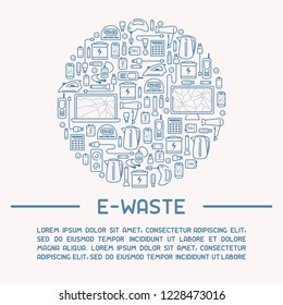 E-waste ready template with old appliances and inscription. E-waste icons set. Line style vector illustration. There is place for your text