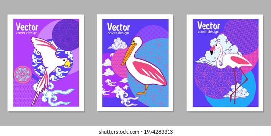 Сover ewith pelican, parrot, flamingo and Patterns in a modern style, geometric shapes. Applicable for posters, brochures, posters, covers and banners.