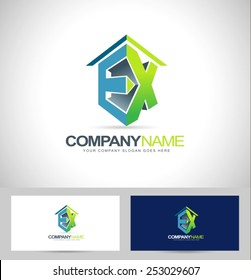 Ex Company Logo. Creative concept with ex letters green and blue colors
