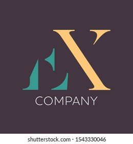 EX company logo design. Monogram. Letters E and X.