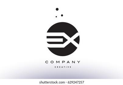EX E X alphabet company letter logo design vector icon template simple black white circle dot dots creative abstract