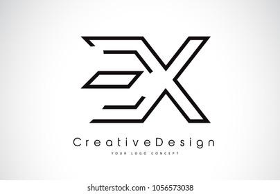 EX E X Letter Logo Design in Black Colors. Creative Modern Letters Vector Icon Logo Illustration.