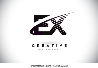 EX E X Letter Logo Design with Swoosh and Black Lines. Modern Creative zebra lines Letters Vector Logo