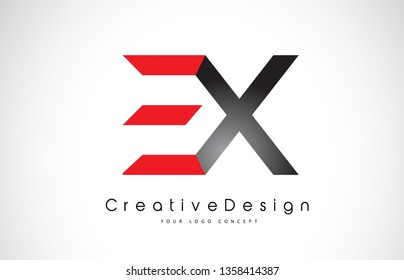 EX E X Letter Logo Design in Black Colors. Creative Modern Letters Vector Icon Logo Illustration.