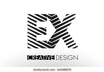 EX E X Lines Letter Design with Creative Elegant Zebra Vector Illustration.