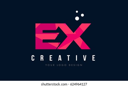 EX E X Purple Letter Logo Design with Low Poly Pink Triangles Concept
