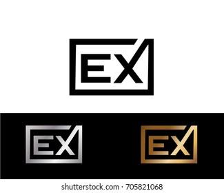 EX initial box shape Logo designs template