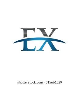 EX initial company blue swoosh logo