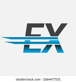 EX initial logo company name colored black and blue, Simple and Modern Logo Design.