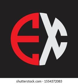 EX Initial Logo design Monogram Isolated on black background