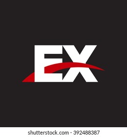 EX initial overlapping swoosh letter logo white red black background