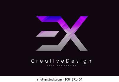 EX Letter Logo Design in Purple Texture Colors. Creative Modern Letters Vector Icon Logo Illustration.