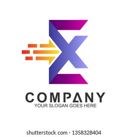 EX logo, letter E and letter X with fast movement shape, express icon,delivery service logo