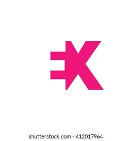 EX Logo. Vector Graphic Branding Letter Element. White Background