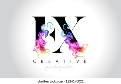 EX Vibrant Creative Leter Logo Design with Colorful Smoke Ink Flowing Vector Illustration.