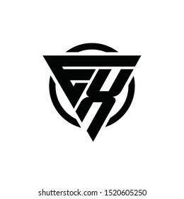 EX, XE Triangle Logo Circle Monogram Design Vector Super Hero Concept