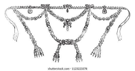 Exact design of the necklace Boel sea and Bassange, vintage engraved illustration. Magasin Pittoresque 1841.