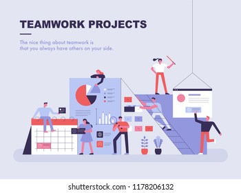 An exaggerated concept template where small people are building business materials. flat design style vector graphic illustration