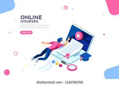 Exam or college research. Teaching infographic, tutorial online, courses, seminar or class. Desk of knowledge concept with characters and text. Flat isometric vector illustration