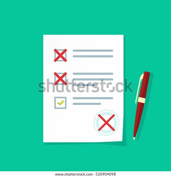 Exam Paper Form Failed Assessment Vector Stock Vector Royalty Free 520904098 ✓ free for commercial use ✓ high quality images. https www shutterstock com image vector exam paper form failed assessment vector 520904098