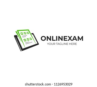 Exam paper and tablet logo template. Online exam vector design. Survey form on tablet logotype