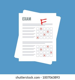 exam sheet with F grade, flat design
