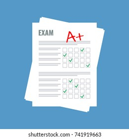 exam sheet with A plus grade, flat design