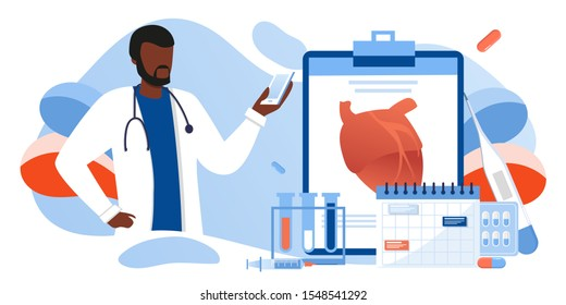 Examination, black skin cardiology doctor, circulatory system checkup. Heart disease human concept. Ischemic heart disease, coronary artery disease, risk with hypertension concept for banner, web site