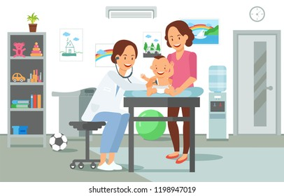 Examination by Pediatrician. Pediatric department in Hospital with Woman Doctor and Child during Examination. Doctor and Baby. Medical Health care Set. Vector Illustration in Flat style.