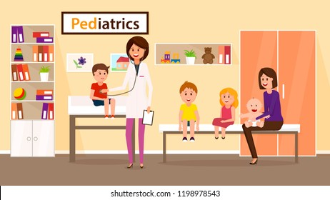 Examination by Pediatrician. Pediatric Department in Hospital with Woman Doctor and Boy during Examination. Doctor and Kids. Children and Pediatrician. Vector Illustration in Flat style.