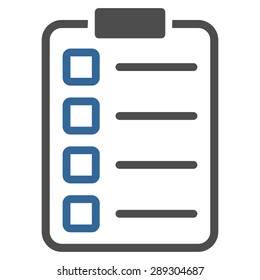 Examination icon from Business Bicolor Set. Vector style: bicolor flat symbol, cobalt and gray colors, rounded angles, white background.