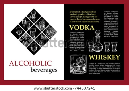 example background alcoholic products brochure layout stock vector