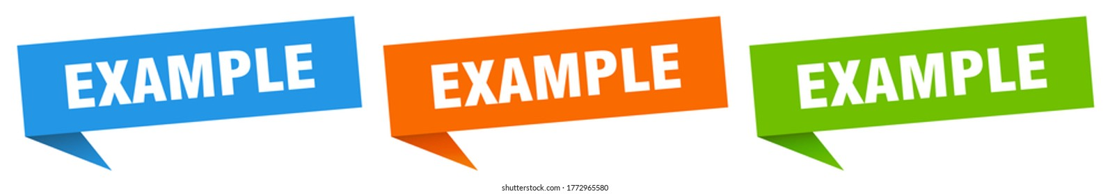 example banner. example speech bubble label set. example sign