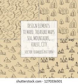 Example design elements to make your own fantasy or treasure maps. Includes city, forest, mountains, sea, waves, ocean. Imitation of medieval drawings. Hand-drawn sketch. Vector