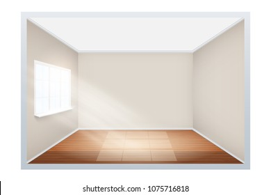 Example of an empty room with wooden floor and window on the side. Simple interior without furnish and furniture. Sunlight falls from the window to the floor. Imitation of three-dimensional space.