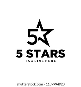 An example inspiration sign / logo number 5 in join with the star symbol.