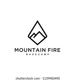 An example of inspiring mountain sign / logo with a diamond-shaped abstract.