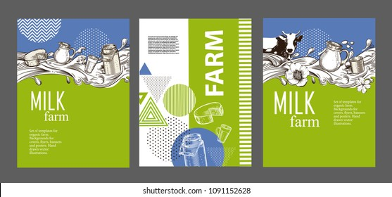 Example of page design of a brochure about dairy products. An example of a backdrop for milk farm. Vector image of cow, milk wave, jug, cup. Set of agricultural banners.