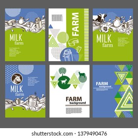 Example of page design of a brochure about dairy products. An example of a backdrop for milk farm. Vector image of cow, milk wave, jug, cup.
