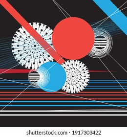 An example of an unusual abstraction from different geometric shapes for a website or poster design