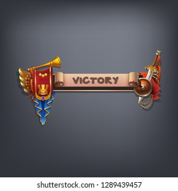 Example user interface of game. Elements victory with coat of arms and text on ancient scroll with flag. Vector illustration.